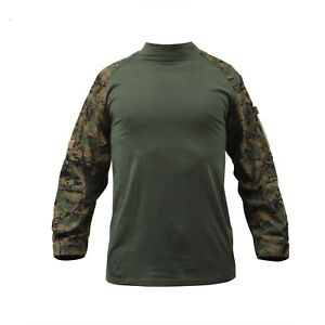 Long Sleeve Combat Shirt Heat Resistant Tactical Military Rothco Large Camo