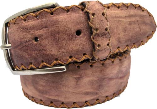 L 100/% italien cuir veau marron clair ceinture en CUIR coutures S XXL XL M