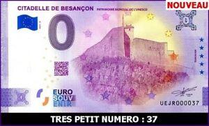 UE JR-3 / CITADELLE DE BESANCON / BILLET SOUVENIR 0 € / 0 € BANKNOTE / 2021-3