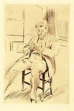 MAX SLEVOGT - SELBSTBILDNIS, IM ATELIER RADIEREND - Kaltnadel 1911