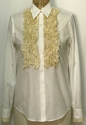 Dosa white cotton ruffled Tuxedo blouse - image 1
