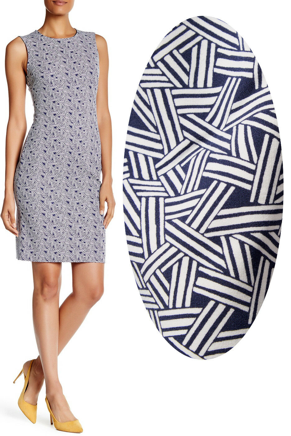 392dd7dc Diane Von Furstenberg DVF Regenna Ribbon Rectangles Stretch Sheath Dress 14