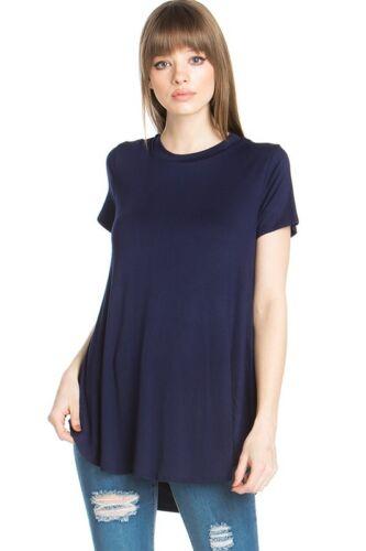 USA Women Scoop Neck Short Sleeve Scallop Round Hem Knit Tunic Top T-Shirts S~XL