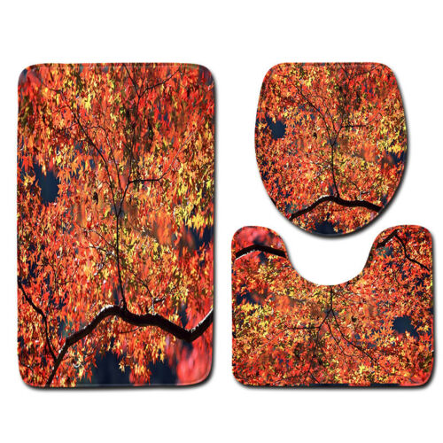 Fall Forest Bath Mat Vivid Tree Leaf Bathroom Decor Rug Carpet Non Slip Backing