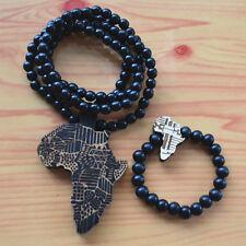 GOOD QUALITY HIPHOP BLACK AFRICA MAP WOOD CHAIN NECKLACE & STRECH BRACELET SET