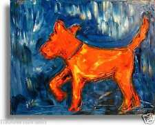 ABSTRACT DOG   ORIGINAL OIL Painting  Stretched RUSSIAN IMPRESSIONIST ZXCXZ