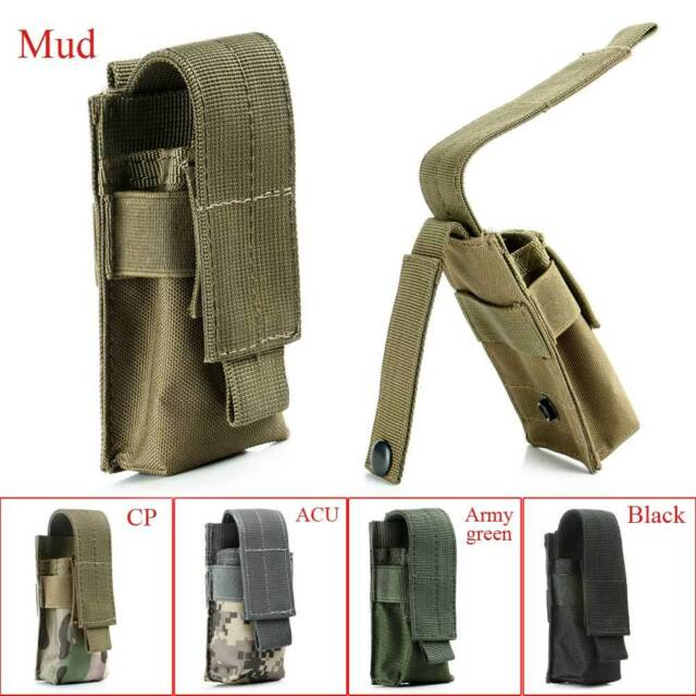 Tactical Military Camping Flashlight Torch Belt Holster Holder Phone Case Pouch