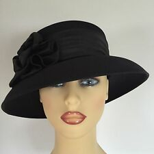 Ladies Wedding Hat Races Mother Bride Ascot Hat Black Fully Lined Anne Hanna