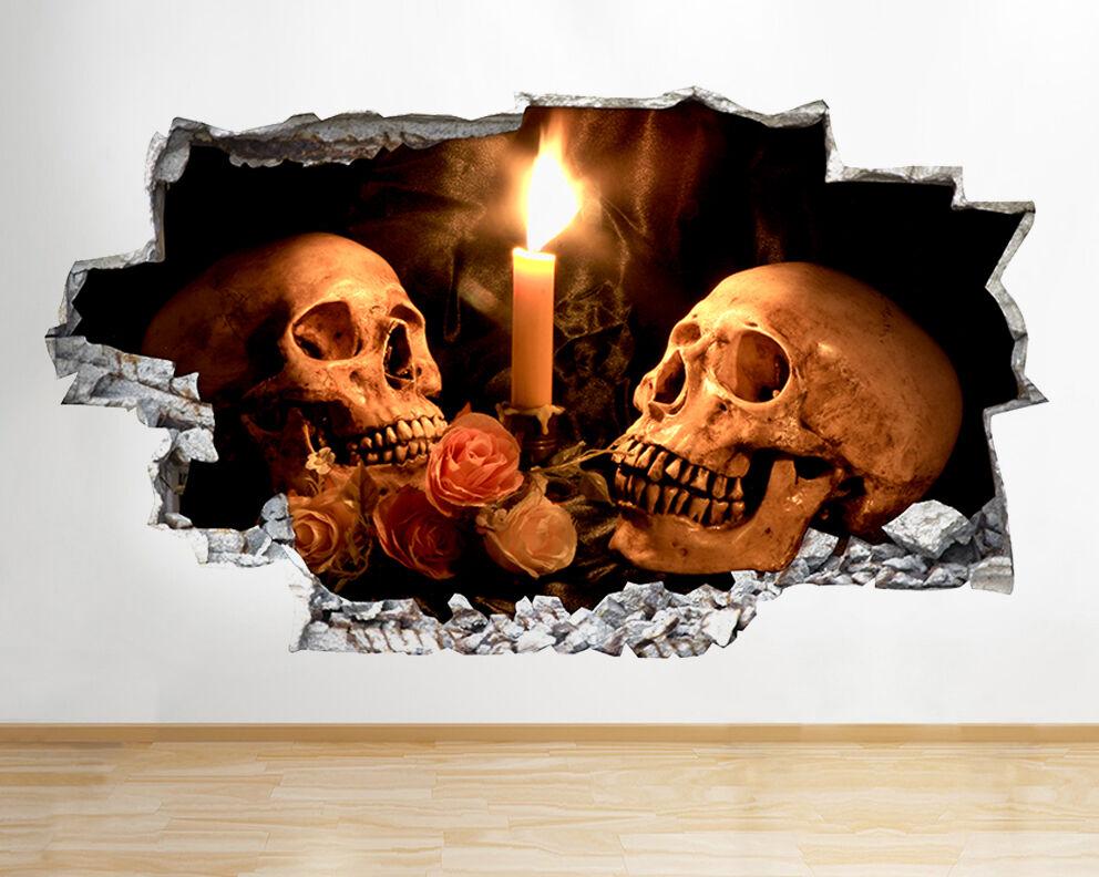 Q890 Skulls Candle pinks Horreur Smashed m Autocollant Chambre 3D Vinyle enfants