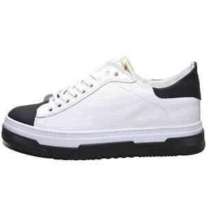Dettagli su Sneakers bassa uomo art.280 in vera pelle bianco con linguetta platino fondo amn