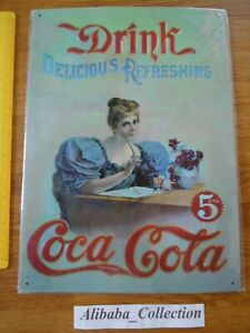 Placca-Latta-Coca-Cola-Donna-Pin-Up-Drink-Delicious-Refreshing-Pubb