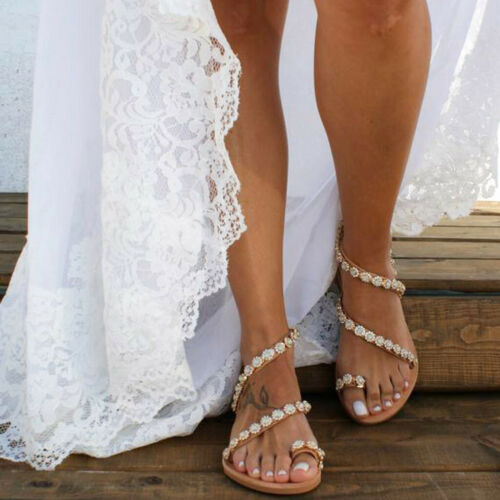Summer Womens Flat Crystal Slippers Beach Sandals Ladies Roman Shoes Size