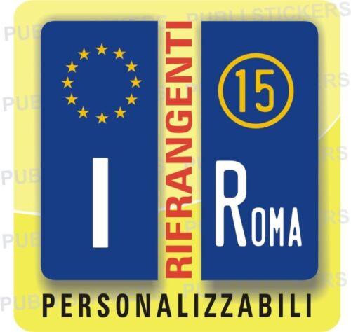 2 ADESIVI TARGA EUROPA AUTO CAMION CON ANNO IMMATRICOLAZIONE E PROVINCIA