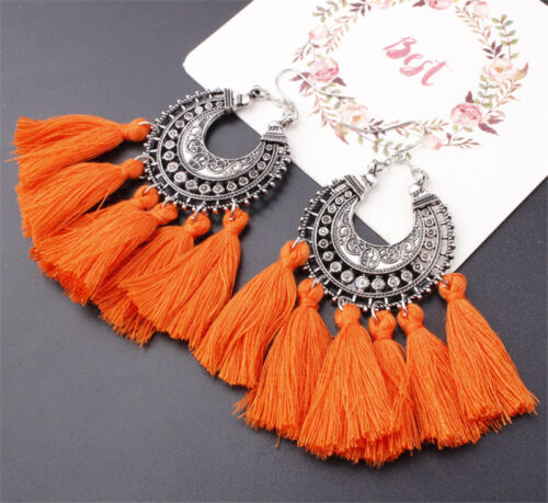 New Fashion Women/'s Bohemian Vintage Long Tassel Fringe Boho Dangle Earrings