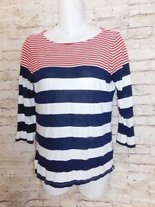 6ff3e8cdd1 Michael Stars Womens Knit Top One-Size Striped Red White Tee Long ...
