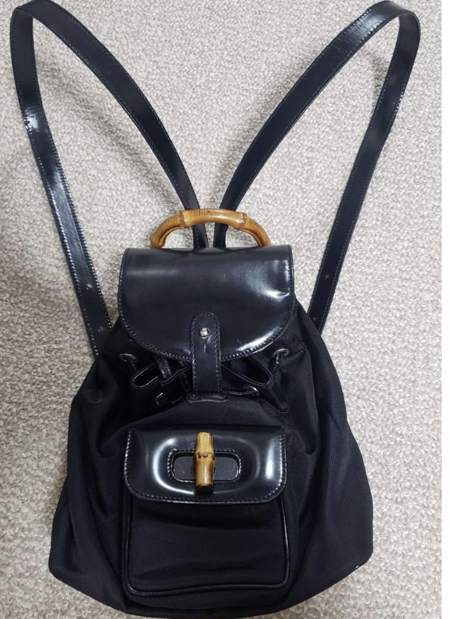 Authentic Gucci GUCCI Bamboo Backpack vintage nyl… - image 1
