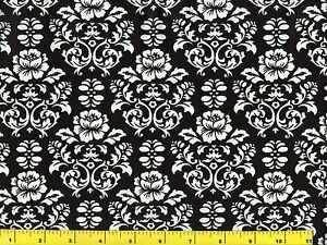 Details About White Victorian Roses On Black Quilting Fabric By Yard 727
