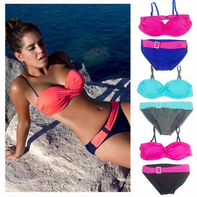 Womens Push Up Swimwear Bandage Bra Bikini Set Padded Swimsuit Bathing 2pcs Suit