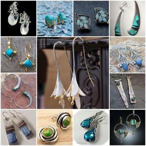 Women-925-Silver-Ear-Hook-Stud-Turquoise-Moonstone-Dangle-Drop-Earrings-Jewelry