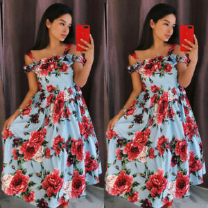 Womens-Summer-Casual-Floral-Off-Shoulder-Vintage-Party-Cocktail-Long-Beach-Dress