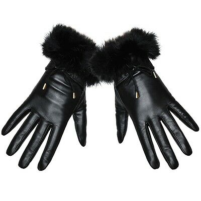 Women's 100% Genuine Leather Wrist Gloves With Rabbit Fur Black