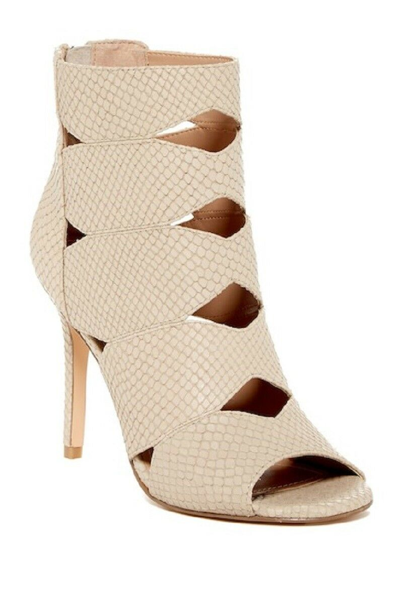 Charles By Charles David Reform Open Toe Snake Embossed Leather Nude Sandals NEW