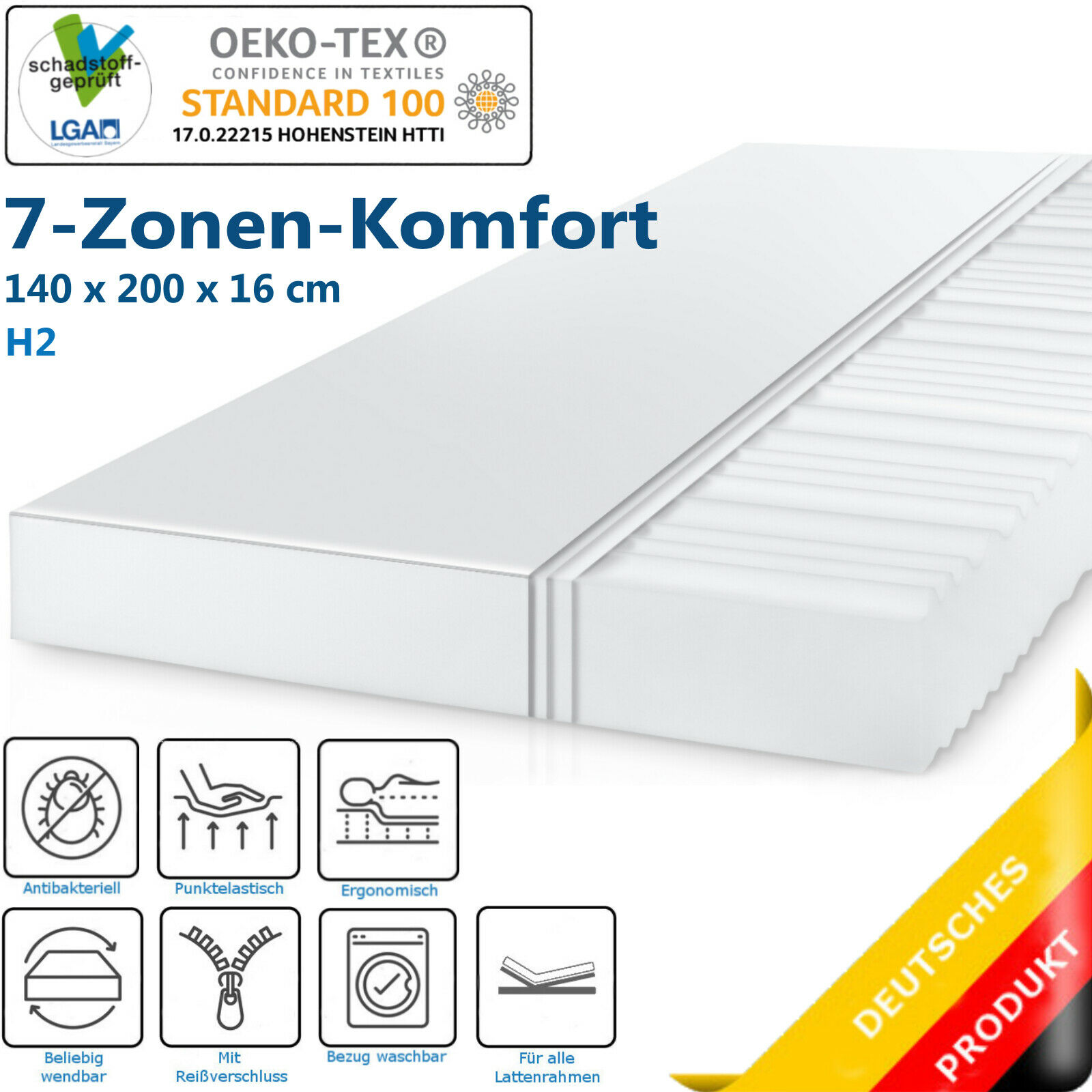 7 Zonen Komfort Kaltschaum Matratze von Midori 140 x 200 cm H2 16 cm