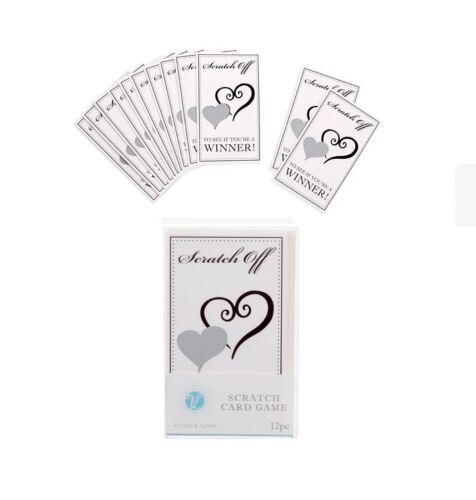 Wedding Bridal SCRATCH OFF GAME CARDS Shower Bachlorette Party 12 pc
