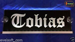 LED-LKW-Leuchtschild-Tobias-Wunschname-Frakturschrift-12-24V-weis-auf-schwarz