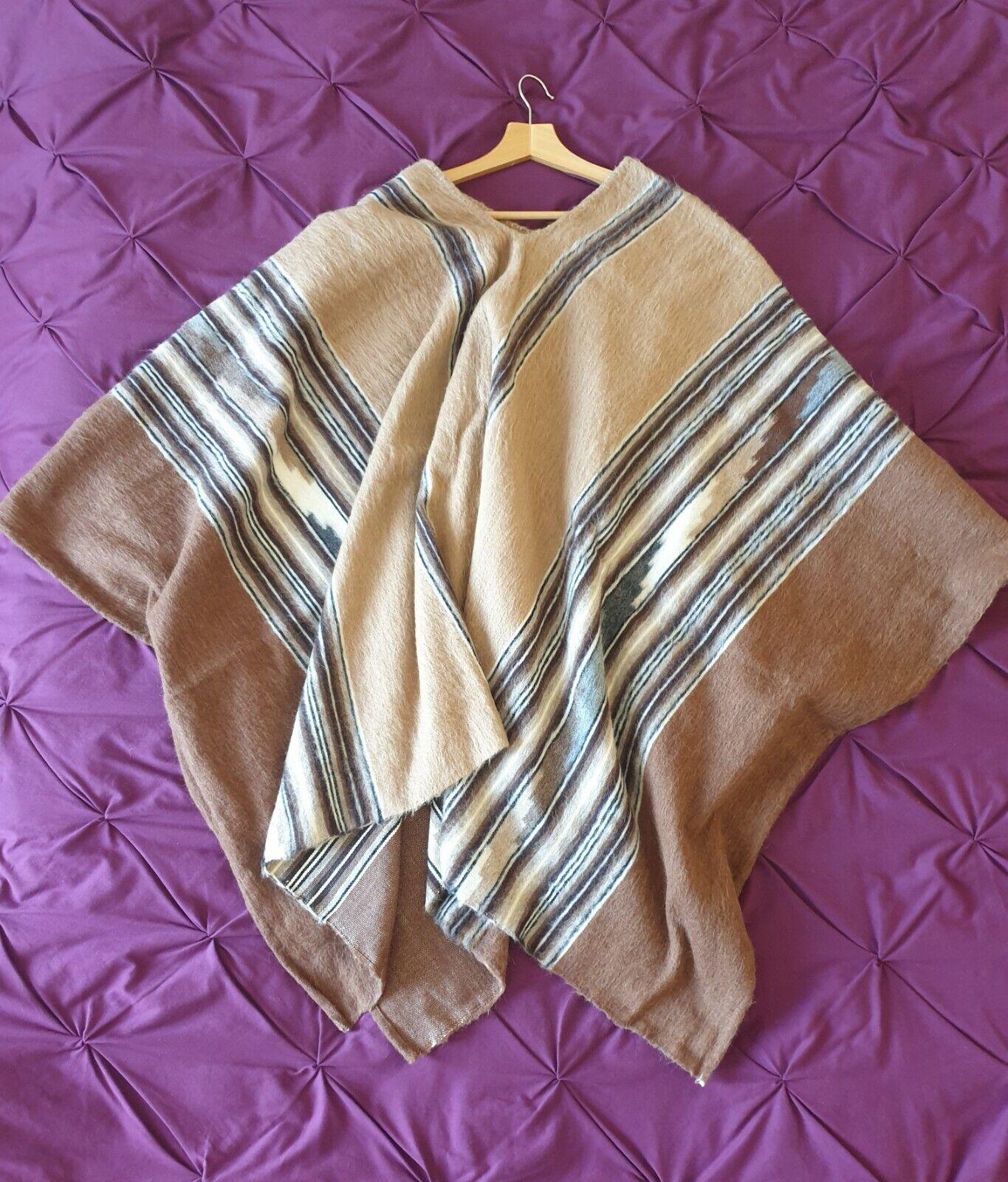 Genuine handmade traditional Peruvian alpaca wool poncho