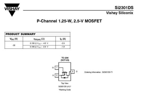 10 unidades si2301ds-t1 transistor Vishay p-Channel 1,25w m4582 2,5v 2,3a MOSFET