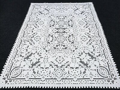 """72x90/"""" Rectangle Polyester Embroidered Embroidery Cutwork Tablecloth 8 Napkins"""
