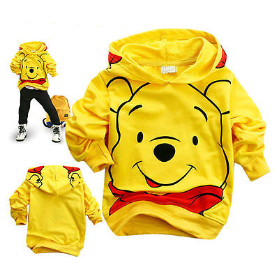 Baby Girls Boys Kids Children Hoodie Sportwear Clothes Set Winnie Pooh Bear 2-7Y