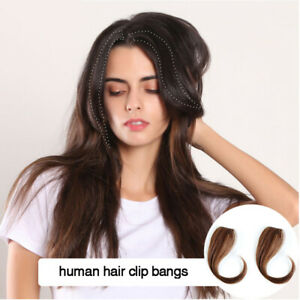 Women Straight Clip In Bang Side Fringe Middle Part 100 Real Human Hair Extens Ebay