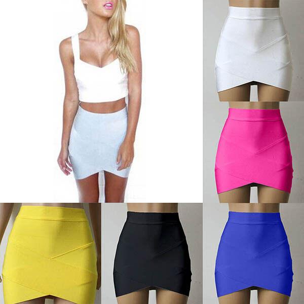 Women'  Mini Skirt Fitted Wiggle Dress Asymmetrical Hem Bandage Party Dress XS-L
