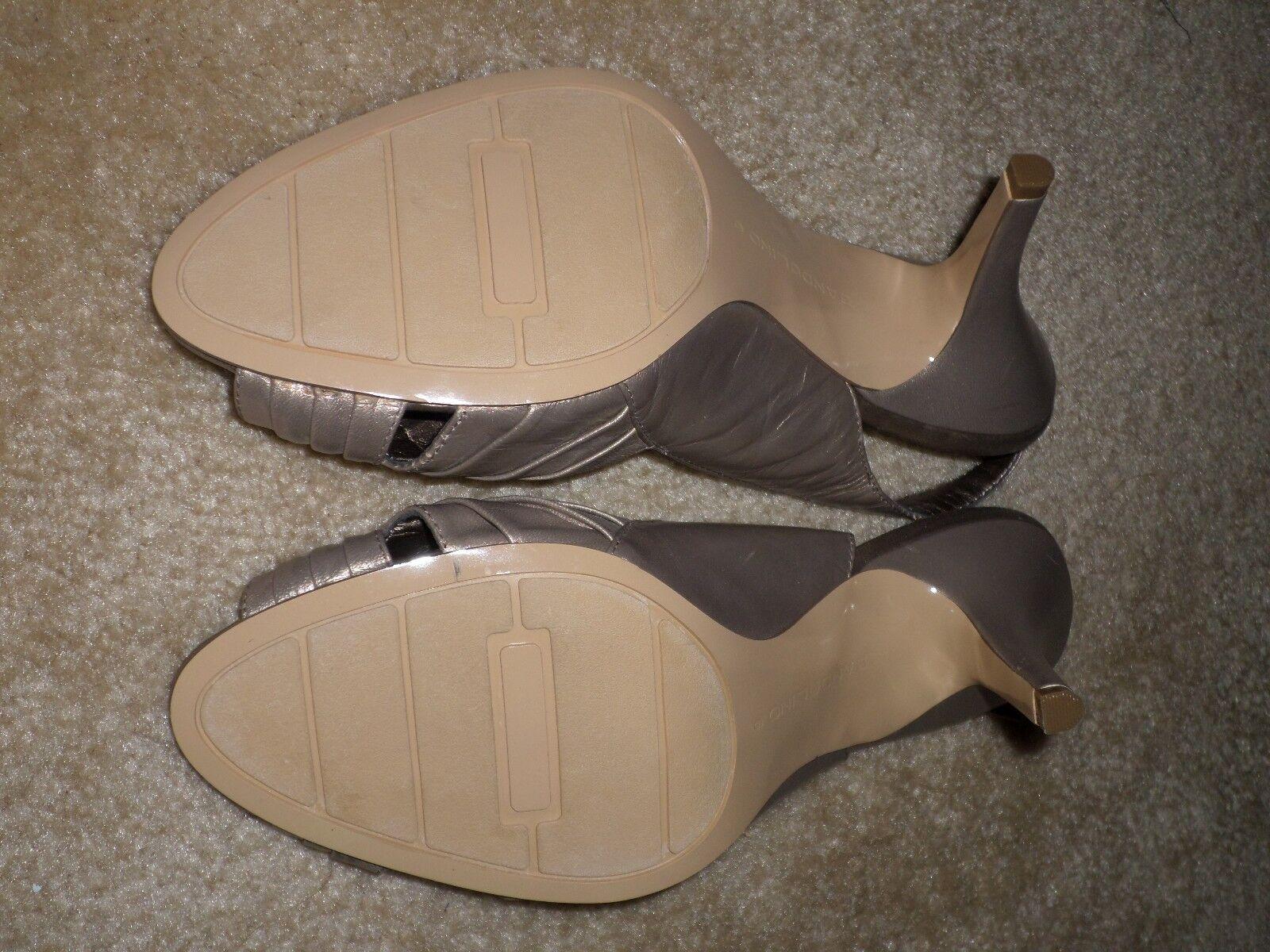 Bandolino champagne/metallic Leder Größe open toe slingback heels- Größe Leder 9M schuhe 52a8ef
