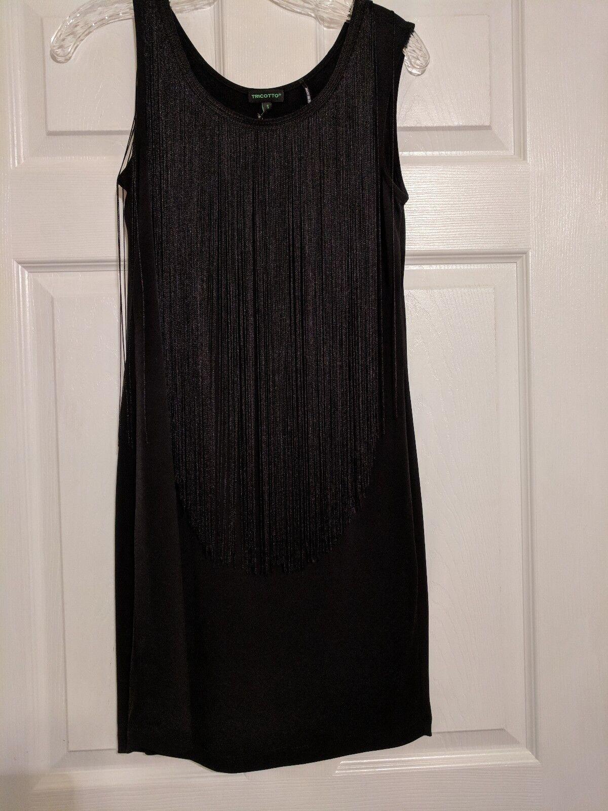 Tricotto Woherren Fringe Trimmed schwarz Dress Größe S Small