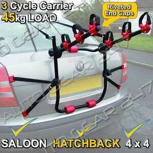 3 Bike Bicycle Luggage Car Carrier Rack Basket Fitting Saloon Hatchback Estate