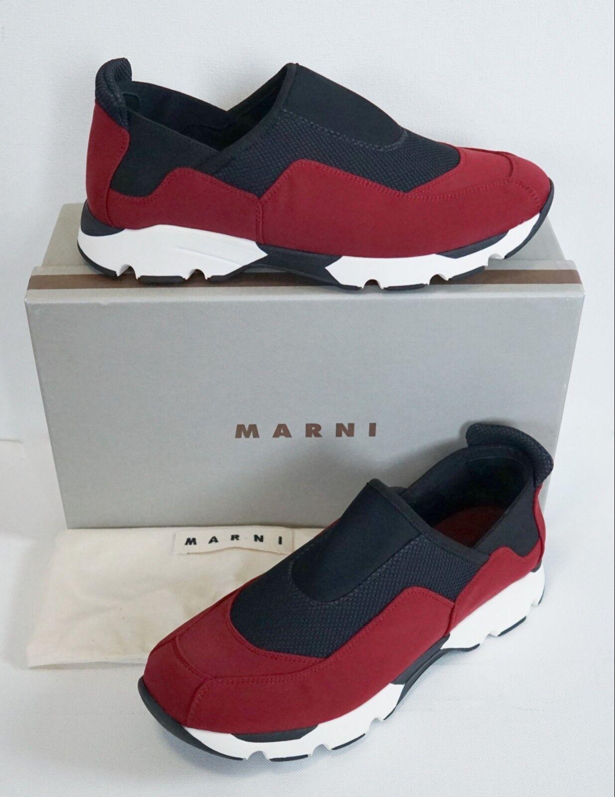 nouveau in Box MARNI Italie Bordeaux Marine Néoprène paniers Chaussures Sport EUR-41 US-8