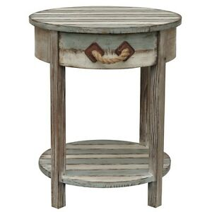 Nantucket Round Weathered Wood Accent Side End Table