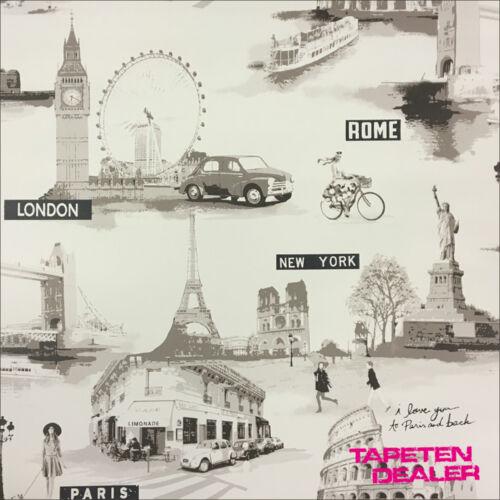 Tapete Galerie S45210 Sehenswürdigkeiten Vintage Paris Rom London 2,43 €//qm