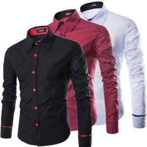 Mens-Formal-Luxury-Stylish-Long-Sleeve-Shirt-Casual-Slim-Fit-Dress-T-Shirts-Tops
