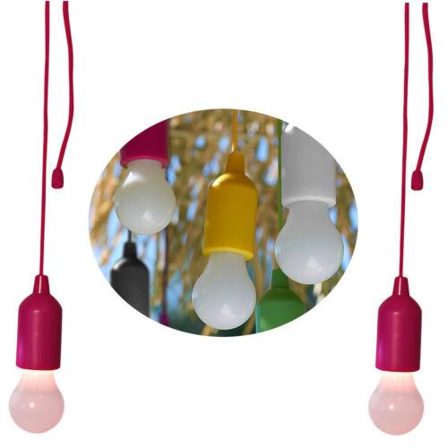 2x LED Zieh-Lampe Rot Pink Glüh-Birne Zeltlampe Camping-Lampe Party-Lichterkette
