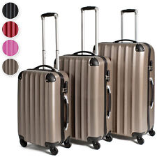 Set de 3 valises de voyage à coque rigide trolley avec 4 roues