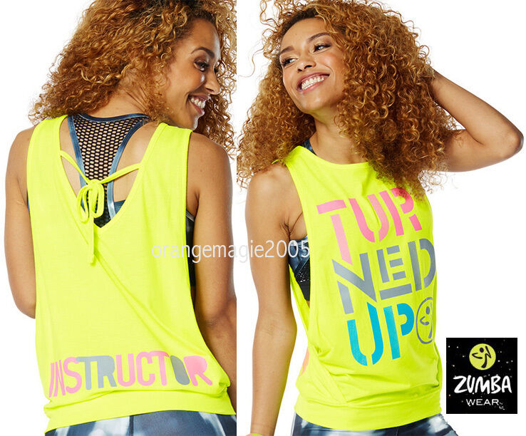 ZUMBA 2Pc.Set   INSTRUCTOR Turned Up Instructor Loose Tank + Mesh Bra - S M L XL