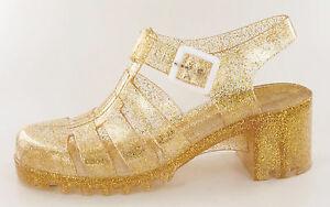 Mädchen/Damen Gold Glitzer Schnalle Gelee Sandalen H3024