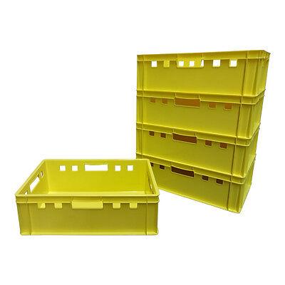 5 X Eurofleischkiste E2 Lagerkiste Metzgerkiste Box Behälter Stapelbar Gelb