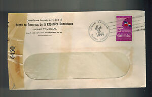 1944 Dominican Republic Censored Window cover to USA Bank of the DR