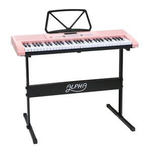 Alpha-61-Key-Lighted-Electronic-Piano-Keyboard-LED-Electric-Holder-Music-Stand
