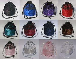 Crushed-Velvet-amp-3-034-Lace-Dolly-Evening-Handbag-Purse-Wedding-Bridesmaid-Bag